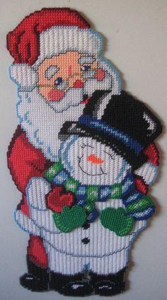 Plastic Canvas Santa/Snowman w/magnets on backside by Craftydonnas on Etsy