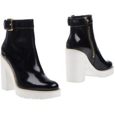 Hogan Ankle Boots ($475) ❤ liked on Polyvore featuring shoes, boots, ankle booties, black, leather booties, black leather booties, black ankle boots, buckle ankle boots and black leather boots