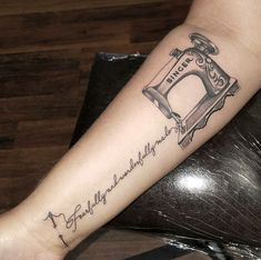 Tattoo artist Rudy Acosta showing us another simple but detailed tattoo of a sewing machine on an arm. Tattooing out of Clovis Ink Tattoo a solid artist with a stronger drive for tattooing. Sewing machine tattoo. Singer sewing machine. Girl tattoo. Female tattoo. Arm, #tattoo #tattooing #tattoos #art #artist #tattooist #smalltattoo #femaletattoo #sewing #needleart #fresno #fresnotattoos #reference #realism realism tattoo, traditional tattoo, neo traditional tattoo, photography.