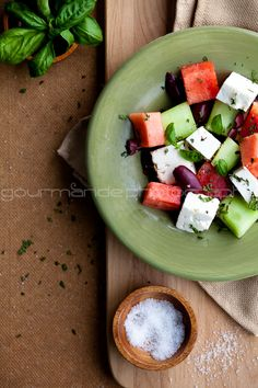 Watermelon, Heirloom Tomato and Feta Salad via @Sylvie | Gourmande in the Kitchen