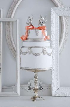 White & Silver Wedding Cake with Coral Ribbon but with gold Silver Winter Wedding, White Silver Wedding, Silver Weddings, Gorgeous Cakes, Pretty Cakes, Wedding Cakes With Cupcakes, Cupcake Cakes, Cake Wedding, Beautiful Cake Pictures