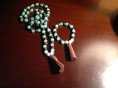 Japamala y brazalete tibetana de aventurina verde, madera de chocolate con borla de chocolate para mujeres...