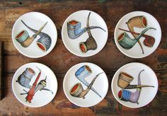 Vintage Pipe Plates Set of 6 #tobacciana #vintagePipes #collectiblePlates