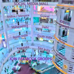 Social Media Mall: We are happy to invite you join Social Media Mall to promote freely your products / Services to your target markets: Andhra / Telangana / Gujarat / Maharashtra / Pune / Delhi / East India / North India / South India / Karnataka / Export Import.  We have created various facebook groups.  This is a marketplace for buying and selling. Click now to get details. These are professionally managed vibrant groups. Feel free to showcase your brand.