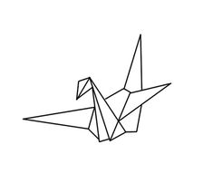 Outline Crane Tattoo Design