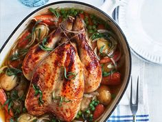 This tasty all-in-one meal not only saves on washing up, it's also a nourishing feast that brings together the fresh taste of spring with the intense savoury hit of roast chicken.This recipe is from Annabel's latest book, Busy Mum's Cookbook. Order now on