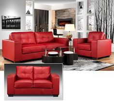 Red Leather Living Room Furniture, Grey Walls.