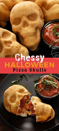 These cheesy Pizza Skulls are about to become your new favorite Halloween savory recipe. These tasty pizza pockets are easy to make, completely customizable and a fun dish to serve at a Halloween party or to your kids during the holiday season. #HalloweenTreatsWeek #lemonblossoms