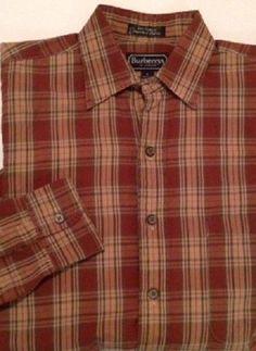Burberrys of London shirt SMALL plaid brown tan 100% cotton long sleeve #BurberrysofLondon #ButtonFront