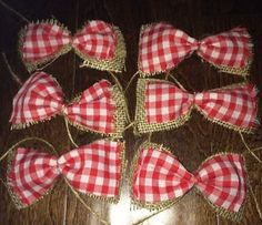 "Shabby Christmas Burlap Bow Tree Decorations X6 Rustic Chic 5"" Red Gingham 
