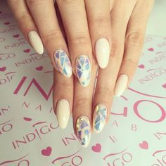 white nails with glass - Google Search