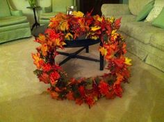 Wreath I made out of a hula hoop! Hula Hoop, Bridal Shower Favors, How To Make Wreaths, Making Out, Fall, Diy, Home Decor, Autumn, Homemade Home Decor