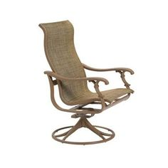 Tropitone Ravello Sling High Back Swivel Rocking Chair Finish: Obsidian, Fabric: Sparkling Water