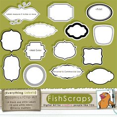 Black & White labels for wedding invitations, Etsy Shop banners, blog banners, candy bar wrappers, wedding favors, Baby Shower Invites or thank you cards, Journal Spots in Scrapbooks, Print as stickers or custom product packaging to help you stand out from the crowd! Everything Labels are great for just about Everything! These labels can be easily customized in the graphics program of your choice using solid colors or other patterned papers as shown in sample image.