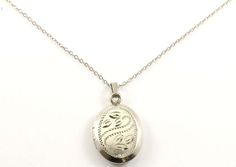 Vintage Oval Shape Floral Etched Locket Pendant Necklace 925 Sterling Silver NC 34 by GabrielStar on Etsy