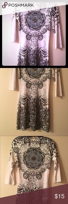 Mini dress Crushed velvet and very stretchy/body hugging, scoop neck, mid sleeve. Wore this just a few times, but cut tag off because it itches me. Super cute with jeggings, skinny jeans, or over the knee boots. Will trade Dresses Mini