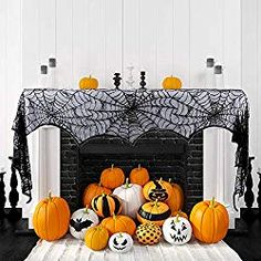Hokic Halloween Decoration Halloween Black Lace SpiderWeb Fireplace Mantle Scarf Cover For Halloween Party Supplies 18 x 96 Inch Mexican Halloween, Disney Halloween, Halloween Make Up, Halloween Spider, Halloween Horror, Halloween Fireplace, Fireplace Mantle, Halloween Table Runners, Spooky Halloween Decorations