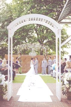 outdoor wedding chandelier arbor