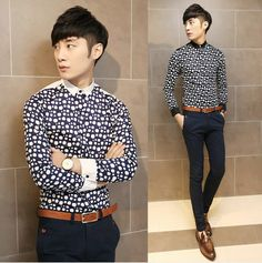 Mens Trendy Clothing 2014 Polka Dot Print Fashion Casual Shirts Asian Size Slim Long Sleeve Shirt $25.88