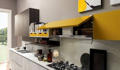 The hood perfectly integrated in the wall unit: not visible but highly effective! Because efficient extraction is a fundamental in the kitchen. Click the Pin and discover more! Italian Interior Design, Modern Kitchen Design, Kitchen Cabinets, Table, Room, Kitchens, Design Ideas, Furniture, Fun