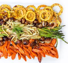 Italian-style roasted vegetable antipasto with squash, fennel, carrots, asparagus and sweet and sour onions. An elegant vegetable dish for any occasion.