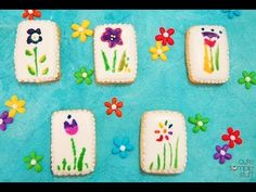 Stencil Flowers on cookies using food coloring - YouTube