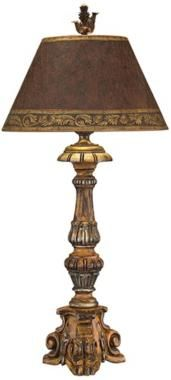 hand carved lamps | John Richard Hand Carved Wood Candlestick Table Lamp (N8860)