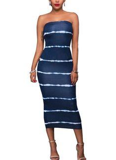 Women Striped Midi Dress Ladies Holiday Evening Party Slim Fit Bodycon Dress UK