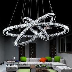 Heisse Verkaufen3 Diamant Ring Kristalllicht Befestigung LED Hngende Helle Aufhebung Lumiere Moderne Beleuchtung Kreis Lampe CEROHS Freeshipping