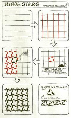 Enthusiastic Artist: NINJA STARS tangle instructions