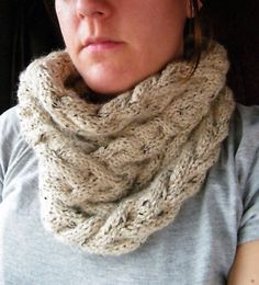 KNITTING PATTERN - Cable Cowl Infinity Scarf PATTERN $5.00, via Etsy. by Mindy Lewis @ Lewis Knits