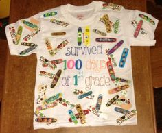This is the cutest Day Of School T-Shirt idea ever! Use band-aids to show that your child survived the first 100 days of school! 100th Day Of School Crafts, 100 Day Of School Project, 100 Days Of School, First Day Of School, School Fun, School Projects, School Stuff, Kindergarten Projects, Kid Projects