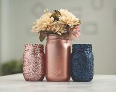 Set of 3 Pink and Navy Blue Wedding Decor Centerpiece Vases or Home and Office Decor Organizing Jars gold Wedding Set of 3 Pink and Navy Blue Wedding Decor Centerpiece Vases or Home and Office Decor Organizing Jars Mason Jar Centerpieces, Wedding Table Centerpieces, Centerpiece Decorations, Rose Gold Centerpiece, Navy Centerpieces, Quinceanera Centerpieces, Flowers Decoration, Stage Decorations, Glitter Paint Mason Jars