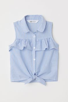 Sleeveless Tie-front Blouse - Light blue white striped - Kids H M US 1 Dresses Kids Girl, Kids Outfits, Casual Outfits, Cute Outfits, Fashion Outfits, Casual Dresses, Frock Design, Tie Front Blouse, Outfit Trends