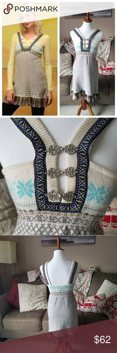 Free People Fair Isle Wool Sweater Dress Gently used  Silver front clasps Free People Dresses Mini