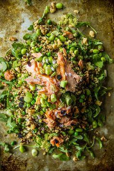 Fresh Mint Quinoa Salad with Edamame, Peas and Smoked Salmon
