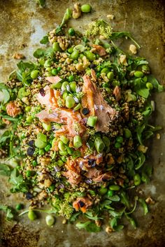 Fresh Mint Quinoa Salad with Edamame, Peas and Smoked Salmon