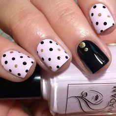 Black and Pink Polka Dot Nails
