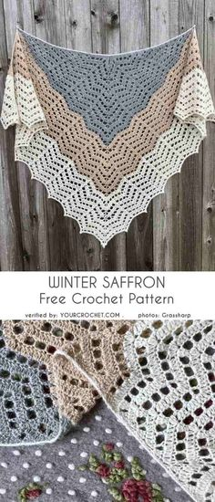 Knitting and Crochet Scarves Winter - Winter Saffron Shawl Wrap Free Crochet Pattern.The Winter Saffron triangle shawl measures across the shoulders and deep. Crochet Prayer Shawls, Crochet Shawl Free, Crochet Shawls And Wraps, Crochet Motifs, Crochet Scarves, Crochet Stitches, Crocheted Scarves Free Patterns, Knitting Patterns Free, Sewing Patterns