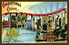 Massachusetts Large Letter 3 - 1930 Postcard.  Printed on cotton.  Ready to sew.  Single 4x6 block $4.95.