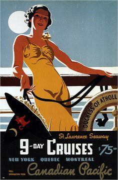 1938 travel poster promoting 9-day cruises on the St Lawrence Seaway via Canadian Pacific (artwork by Tom Purvis)