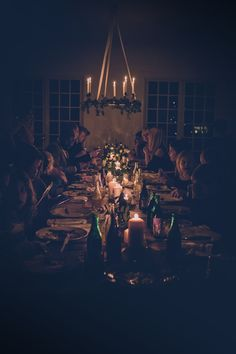 Intimate long banquet table for the guests at my small dream wedding.