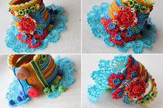 freeform crochet cuff  bracelet with beaded crochet flowers
