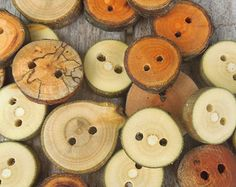 50 small handmade wooden buttons - small assorted set of reclaimed wood buttons