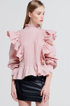Julie Ruffle Lace Blouse Discover the latest fashion trends online at storets.com #fashion #ruffle #laceblouse #blouses #storetsonme