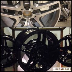 This customer wanted their OEM wheels to be powder coated in gloss black.