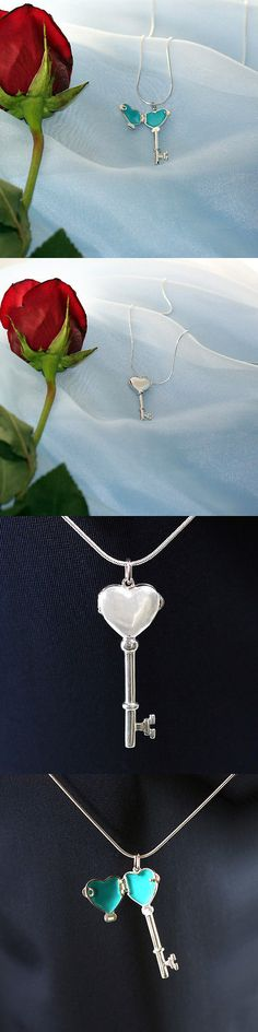 Sterling Silver w o Stone 45078: Rhodium Plated Locket Key Pendant BUY IT NOW ONLY: $87.95