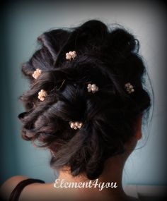 like the concept... Bridal hair pins Swarovski pearls crystals gold by Element4you, $25.00