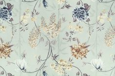 A fresh, beige and blue floral print on a teal, linen/viscose blend base. A beautiful medium weight fabric for Springtime curtains, blinds or cushions. Curtain Fabric, Curtains, Spring Time, Floral Prints, Fabrics, Beautiful, Tejidos, Blinds, Floral Patterns
