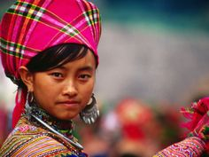 Ethnic Flowery HMong Woman at Weekly Market in Vietnams North, Can Cau, Lao Cai, Vietnam by Stu Smucker